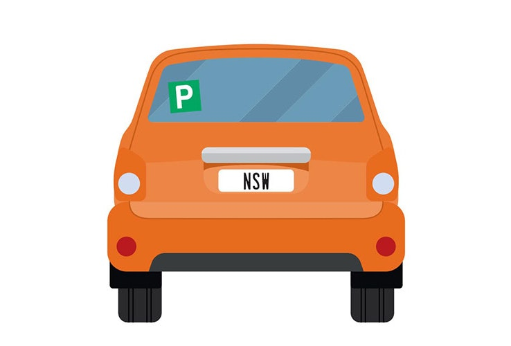 Vector image of little orange car with NSW number plates and a P plate up on the back window.
