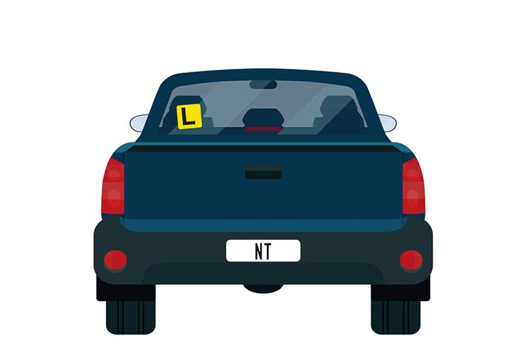 Vector image of dark blue ute with NT number plates and a L plate up on the back window.