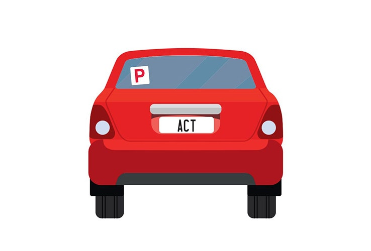 Vector image of little red car with ACT number plates and a P plate up on the back window.