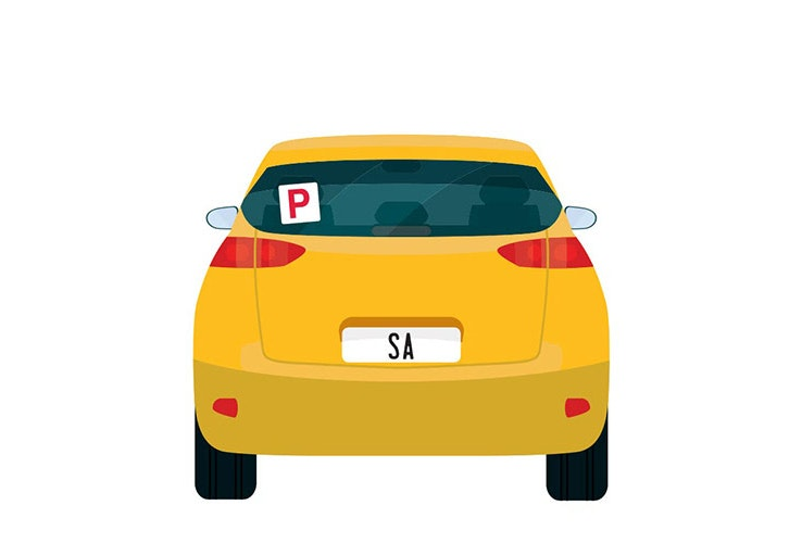 Vector image of little yellow car with SA number plates and a P plate up on the back window.