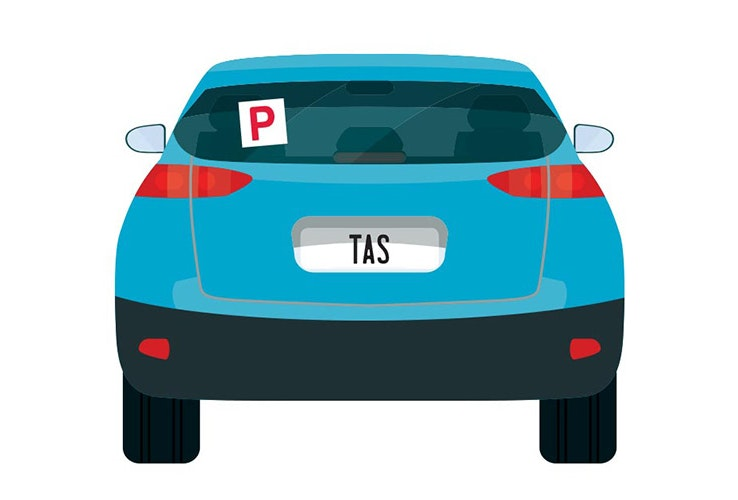 Vector image of little blue car with TAS number plates and a P plate up on the back window.