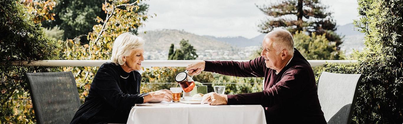 Senior couple enjoying some tea