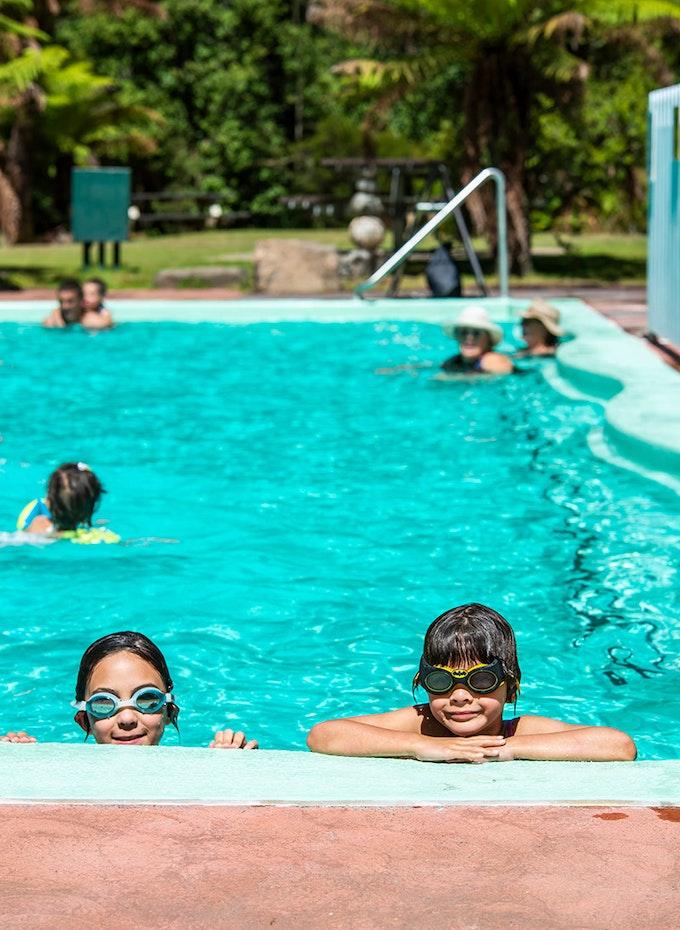 Children swimming at Hastings Thermal Springs