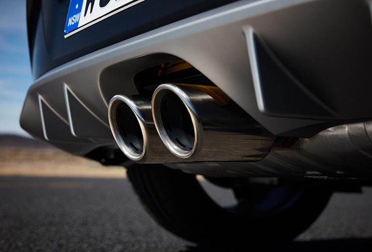 Hyundai Veloster exhaust close-up