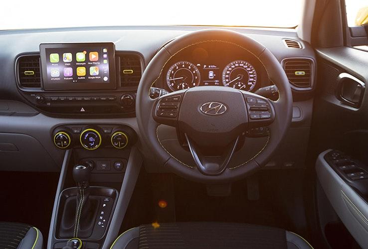 Steering wheel and front interior of Hyundai Venue