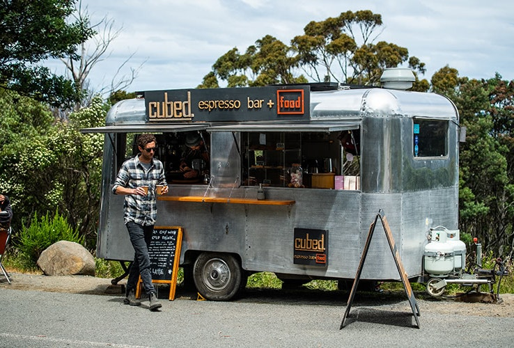Buying coffee at the Cubed Espresso van