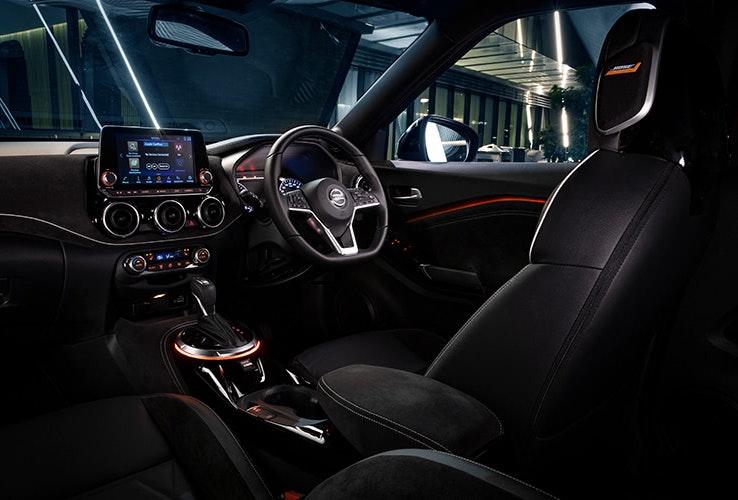 Front interior of Nissan Juke