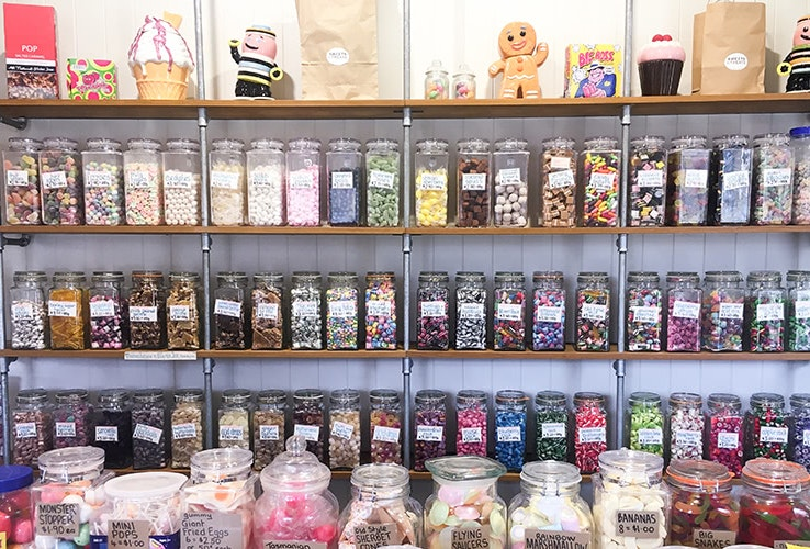 Wall full of lollies at Sweets & Treats in Richmond.