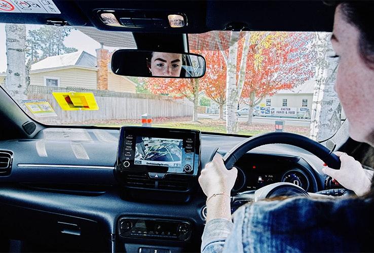 Learner driver practising