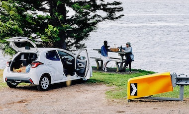 People setting up a picnic from car.
