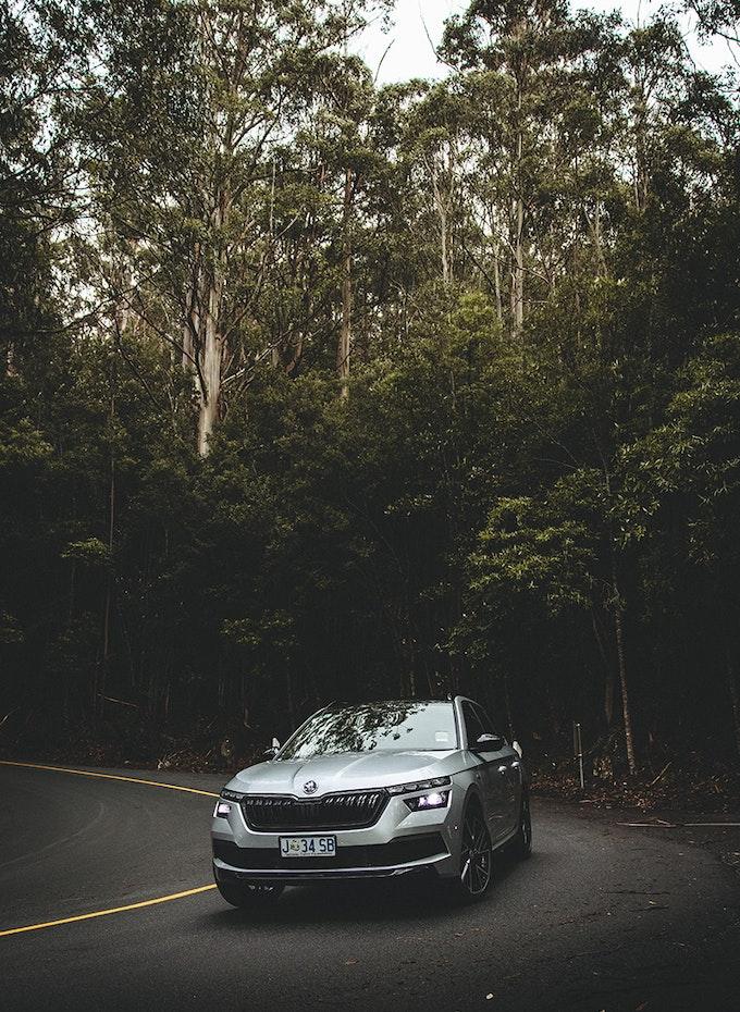 Car taking a corner.