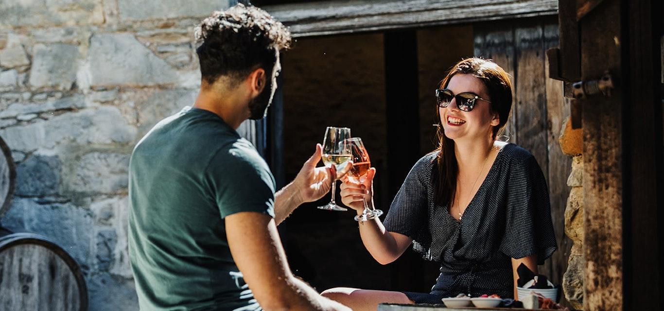 People enjoying a wine.