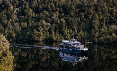 Spirit of the Wild cruising on the Gordon River.