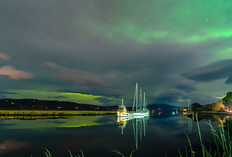 Clouds and an aurora over the Huon.