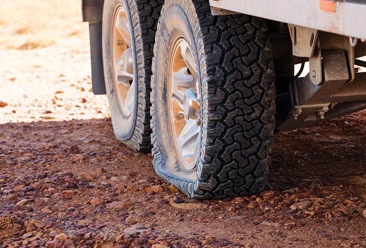 Caravan flat tyre