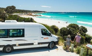 Apollo motorhome parked next to a beach
