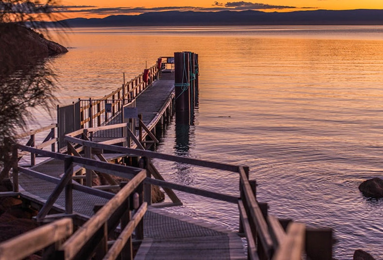 Watching the sunset on the Freycinet Lodge Jetty.