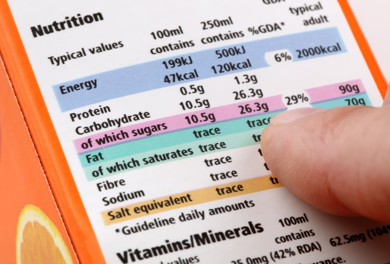 Nutrition panel on packet
