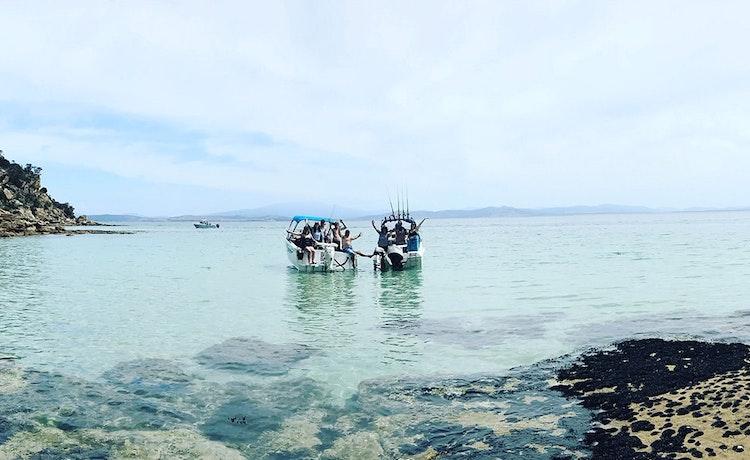 Fishing boats in a calm bay