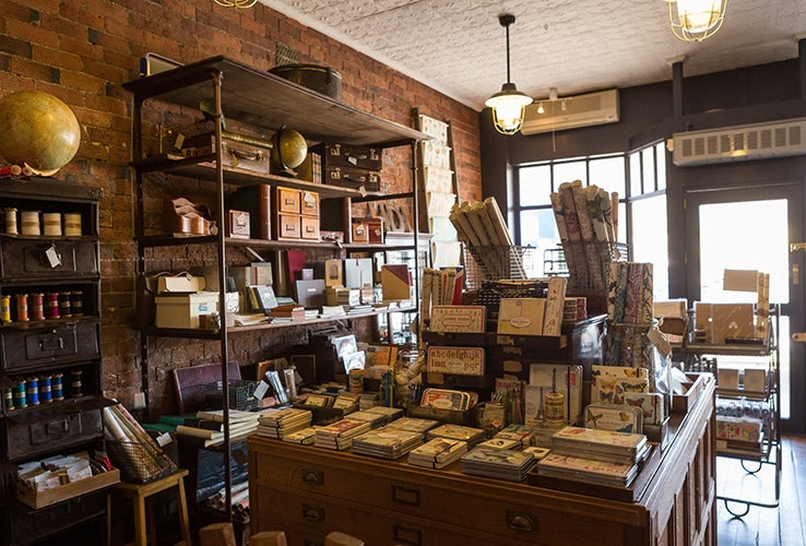 Internal view of the Flywheel stationery and letterpress shop in New Norfolk