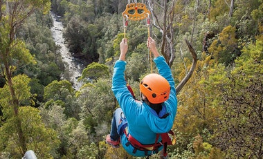 Person on a zip line high above trees and a river