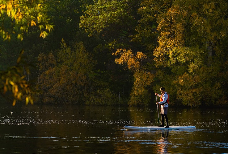 Paddle boarder on the Derwent River