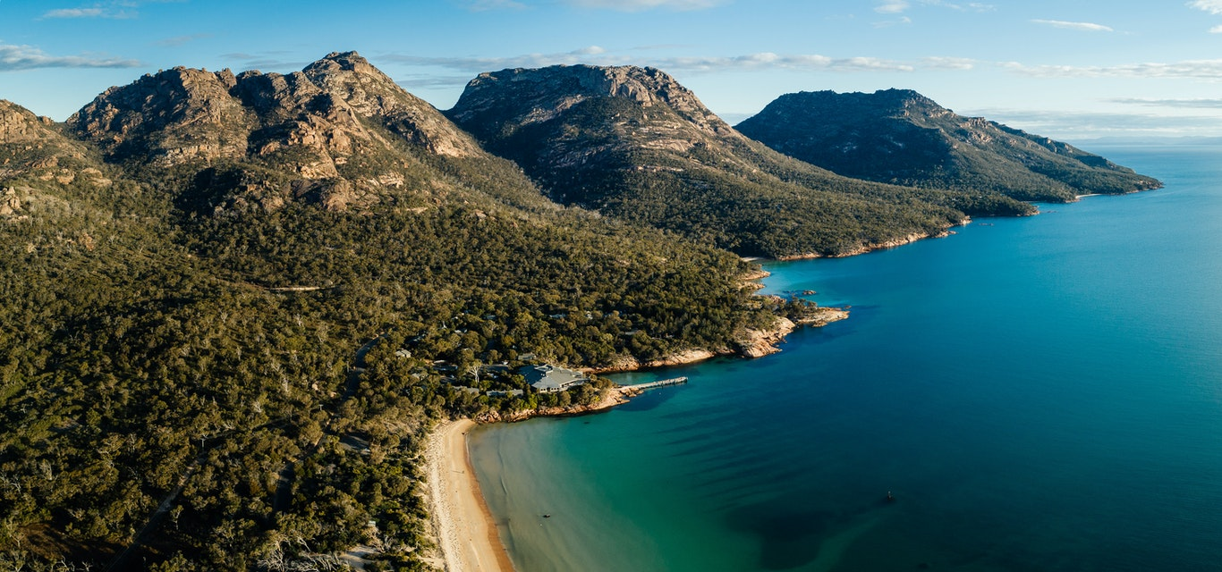 Aerial shot of Freycinet Lodge and the Hazards