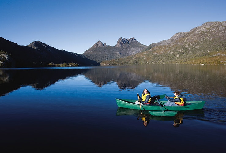 Kayakers in  a lake.