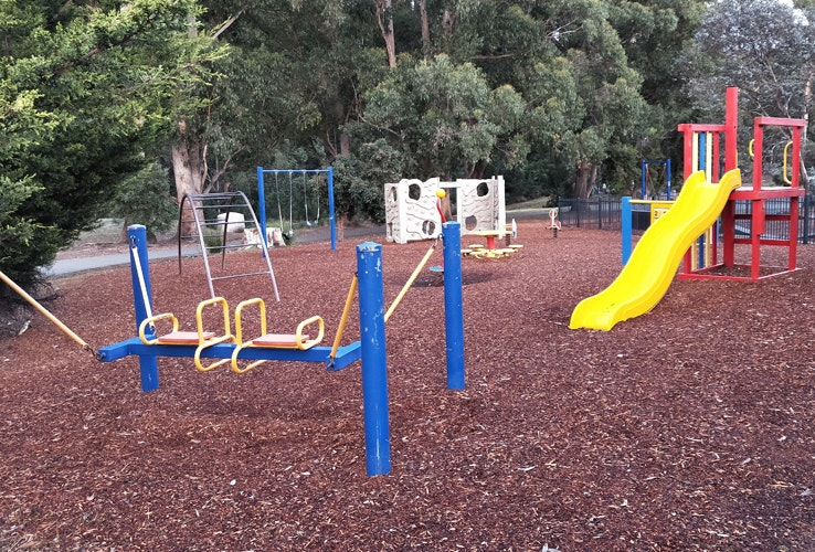 Kids playground with slide and obstacles
