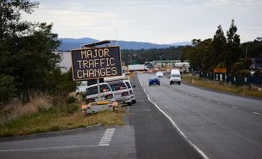 Traffic changes sign on Tasman Highway