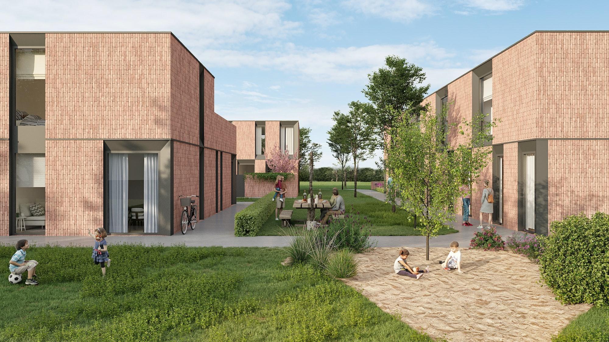 Sfeerbeeld project Hoedhaar, houtskeletbouw woningen, modern design met rode stenen