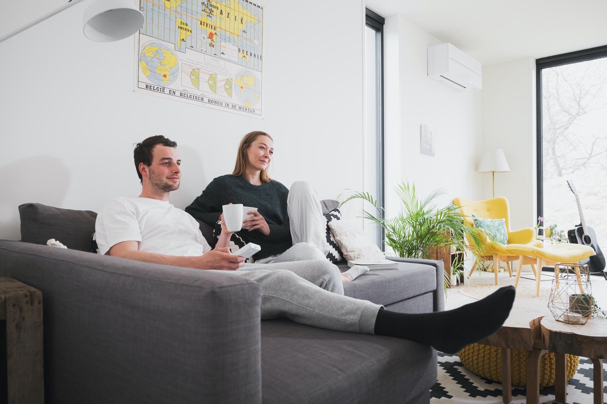 Jong koppel ontspannen in de woonkamer van een Skilpod