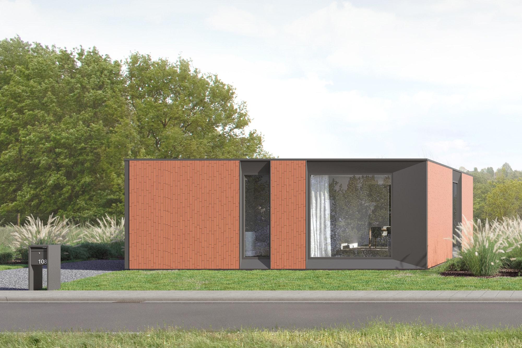 Skilpod #108 — houtskeletbouw bungalow woning met 2 slaapkamers, modern design met rode steen