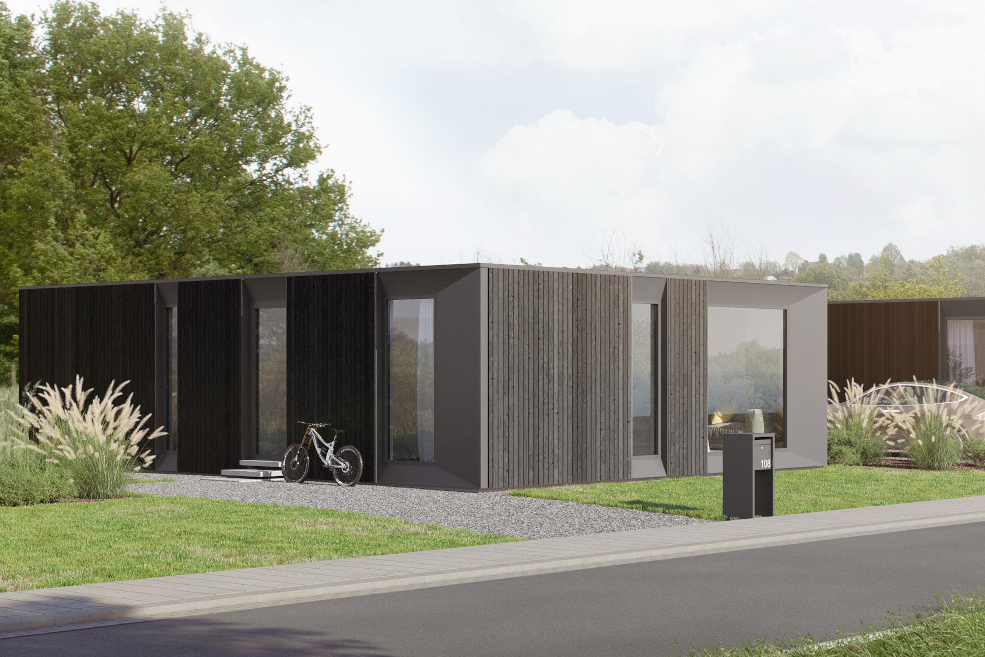 Skilpod #108 — houtskeletbouw bungalow woning met 2 slaapkamers, modern design met zwart hout