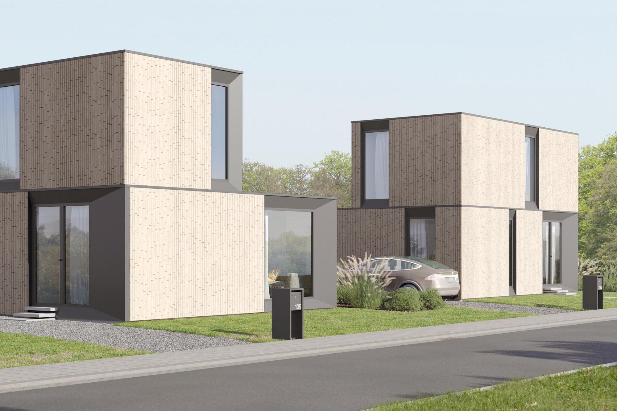 Skilpod #135 — houtskeletbouw woning met 3 slaapkamers, modern design met witte steen