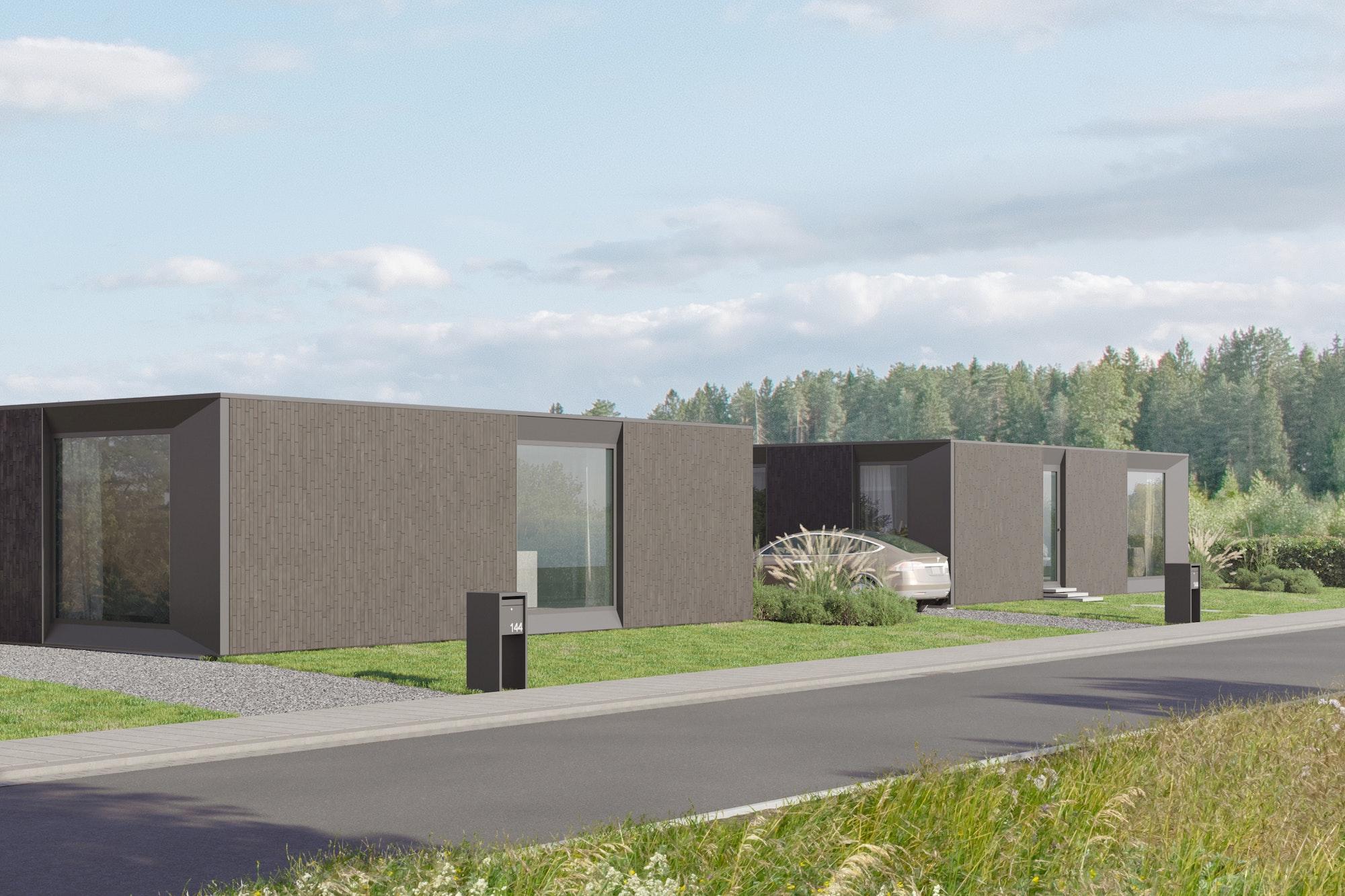 Skilpod #144 — houtskeletbouw bungalow woning met 4 slaapkamers, modern design met zwarte steen