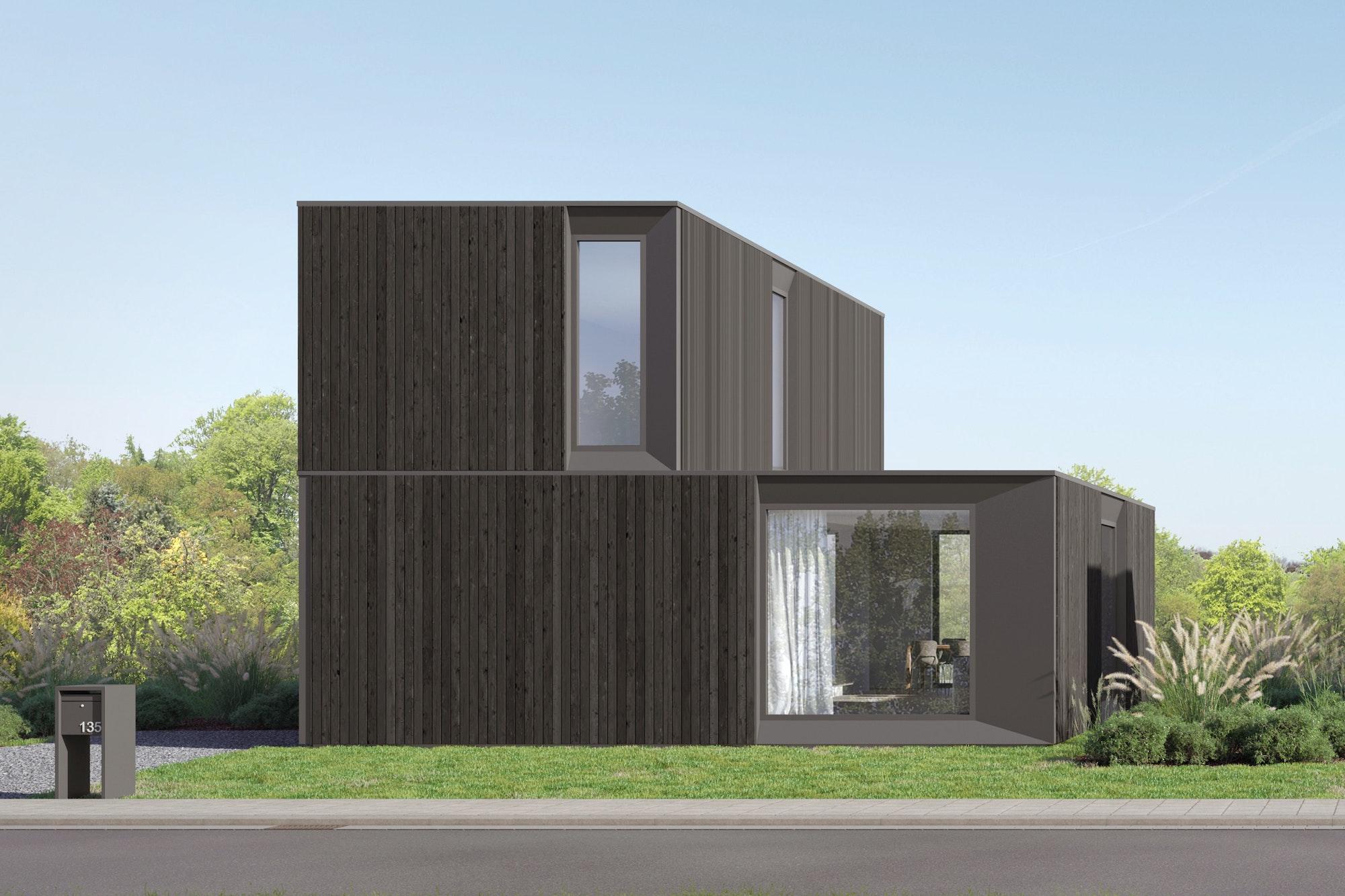 Skilpod #135 — houtskeletbouw woning met 3 slaapkamers, modern design met zwart hout