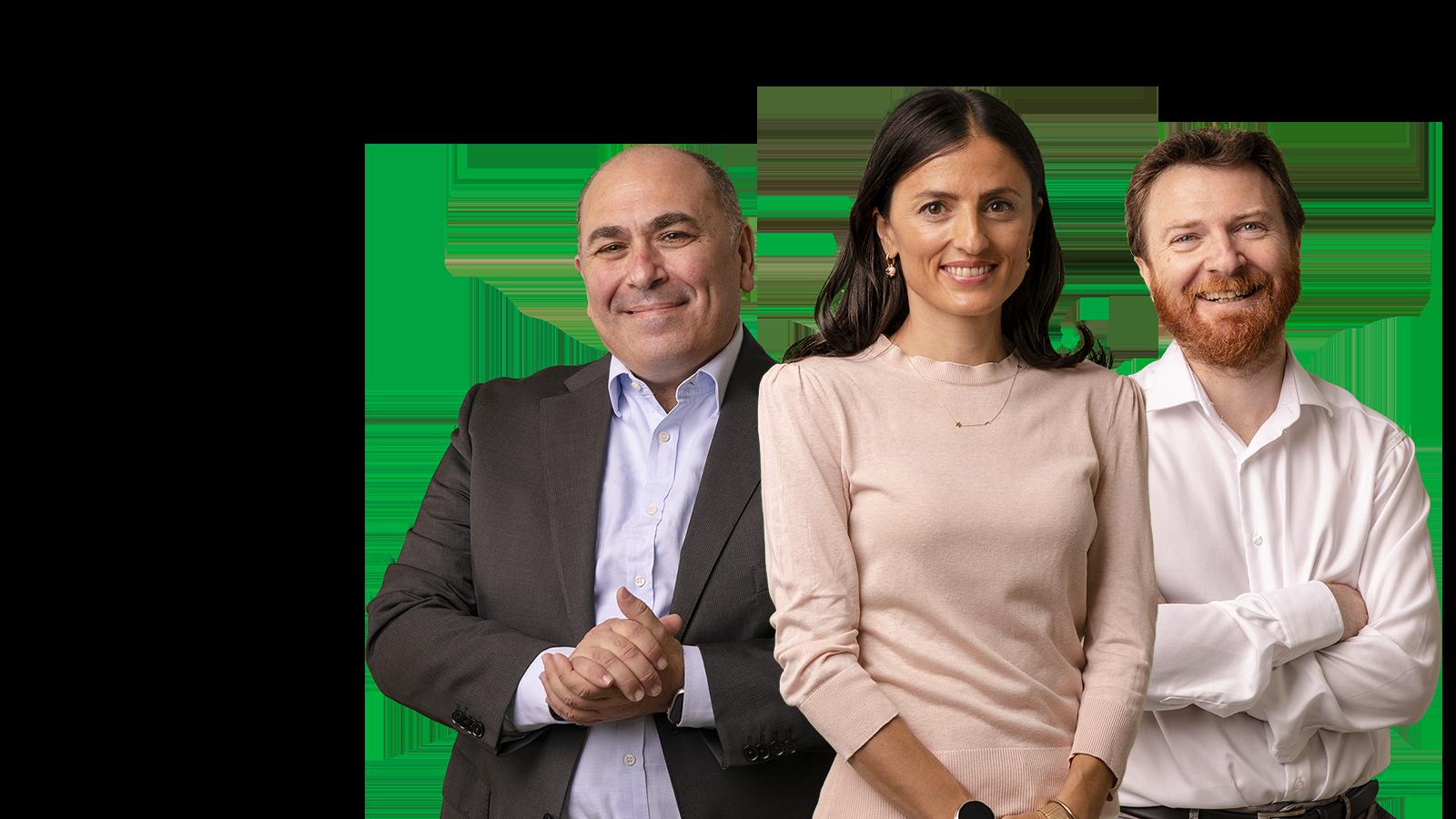 Fotografia con tre persone di AideXa: Emanuele Buttà, Isabella Strada e Giovanni Beninati
