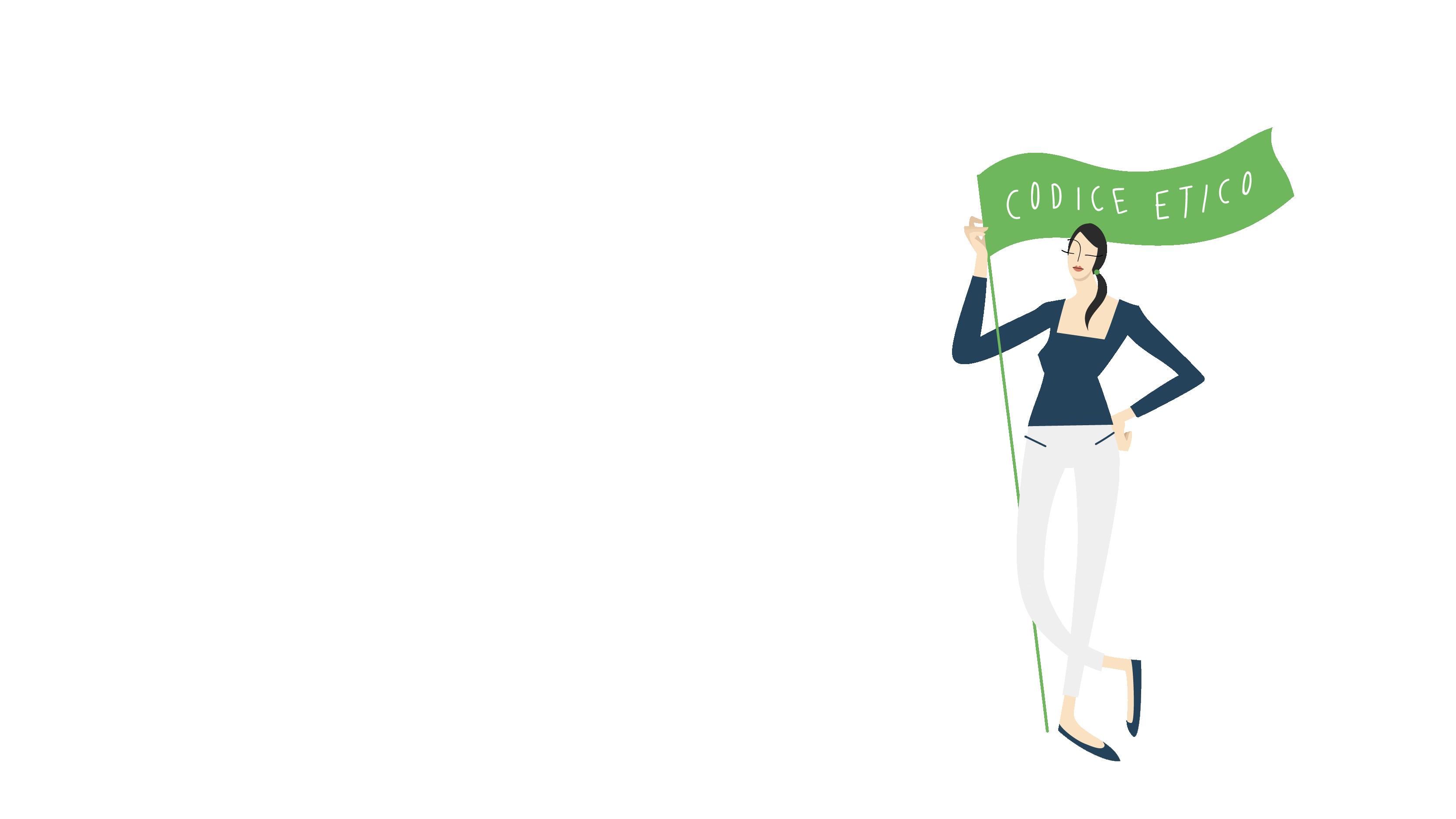 "Una donna con una bandiera con su scritto ""codice etico""."