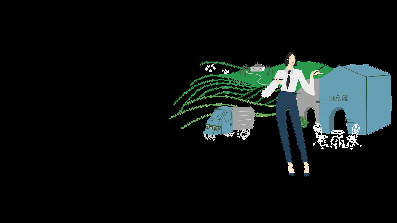 Illustrazione con un'imprenditrice che gestisce le attività del suo bar