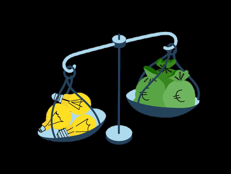 Una bilancia nel cui piatto destro sono presenti dei sacchi con i soldi e nel cui piatto sinistro delle lampadine che simboleggiano delle idee.