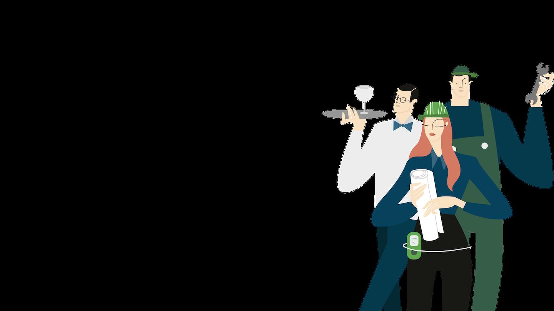 Illustrazione con tre imprenditori intenti a gestire la propria impresa