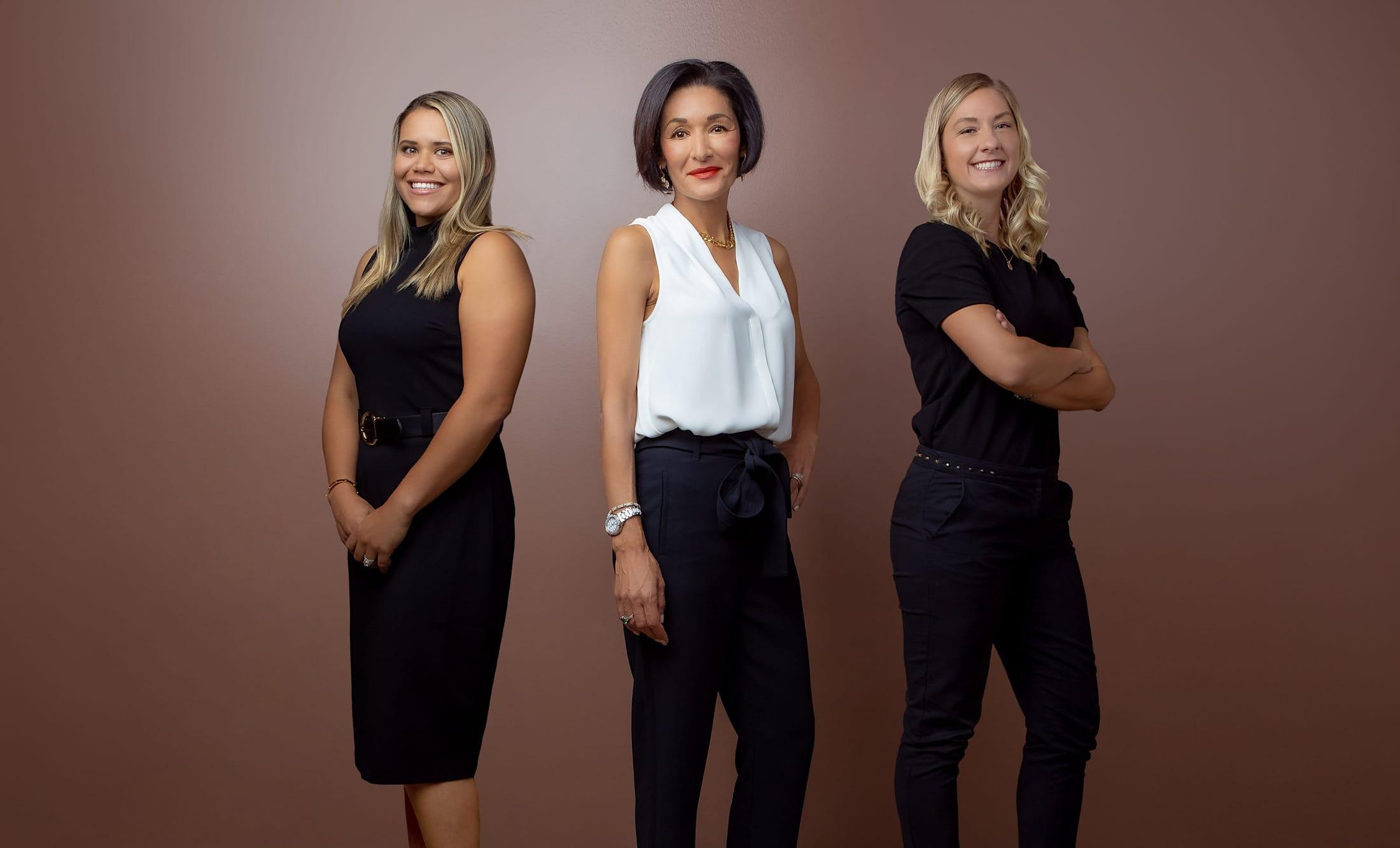 Dr. Salma Aziz, Dr. Petrina Yokay, and Dr. Jessica Arneson standing side by side