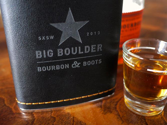 Boots, Bourbon, Big Boulder Whiskey Flask