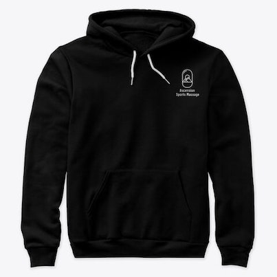 Black hoodie with white logo