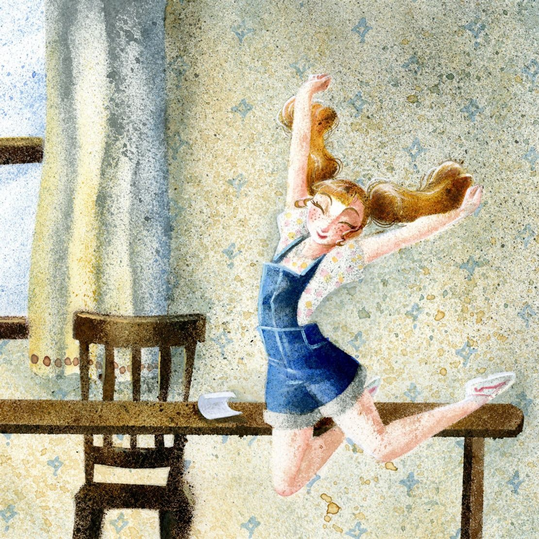 Crystal's painting  Girl jumping for joy