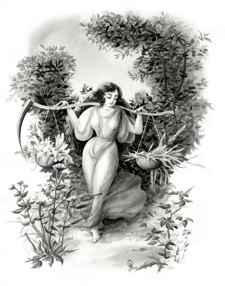 Crystal's drawing woman in the forest