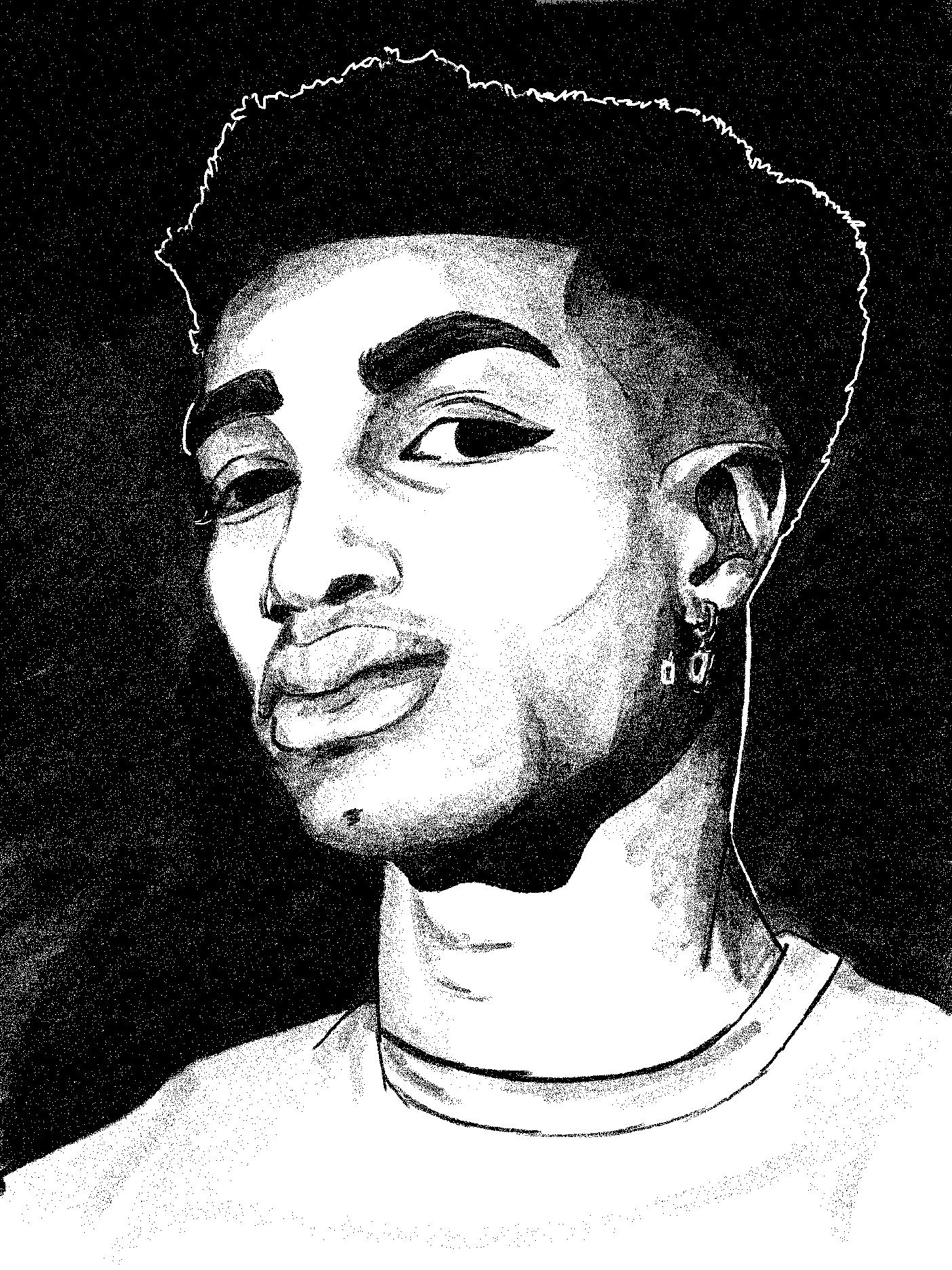 Drawn portrait of a man