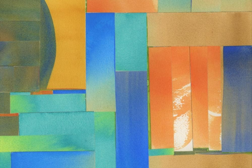 Painted strips of paper collaged together in abstract shapes
