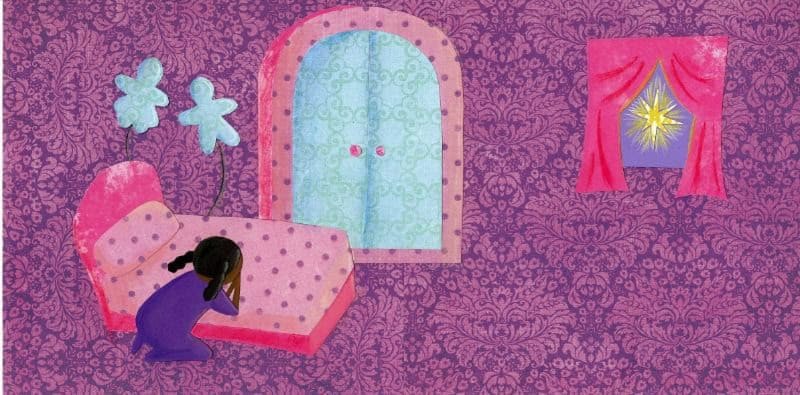 Paper art of girl praying at bedside with a bright star out side window